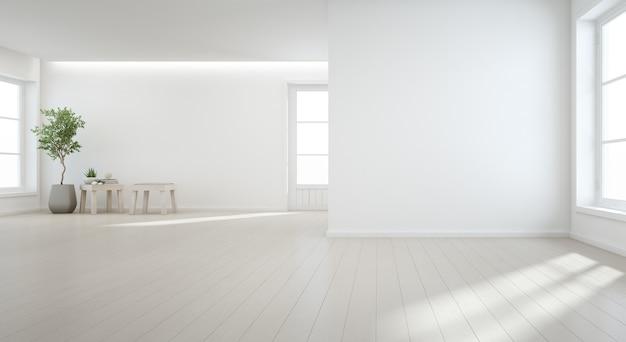 Binnenplant op houten vloer Premium Foto