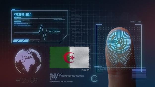 Biometrisch identificatie-systeem voor vingerafdrukken. algerije nationaliteit Premium Foto