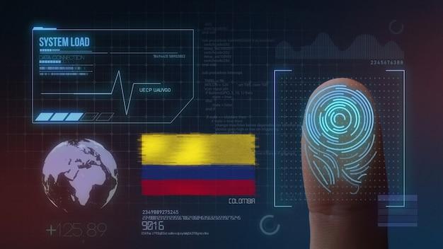 Biometrisch identificatie-systeem voor vingerafdrukken. colombia nationaliteit Premium Foto