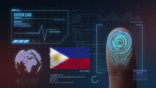 Biometrisch identificatie-systeem voor vingerafdrukken. filippijnen nationaliteit Premium Foto