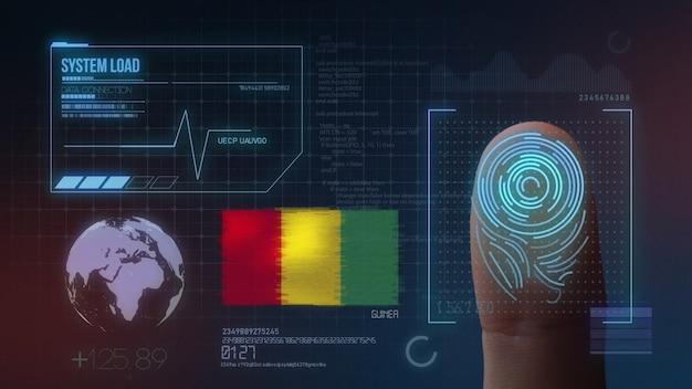 Biometrisch identificatie-systeem voor vingerafdrukken. guinese nationaliteit Premium Foto