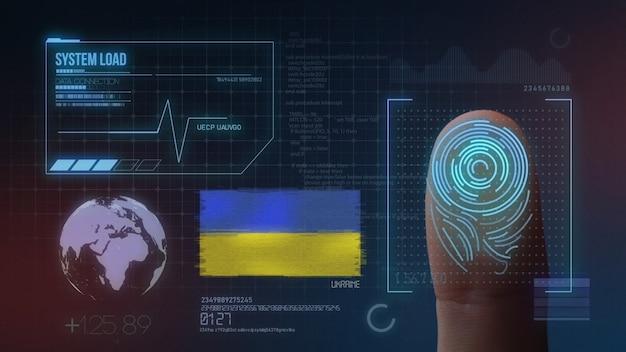 Biometrisch identificatie-systeem voor vingerafdrukken. oekraïne nationaliteit Premium Foto