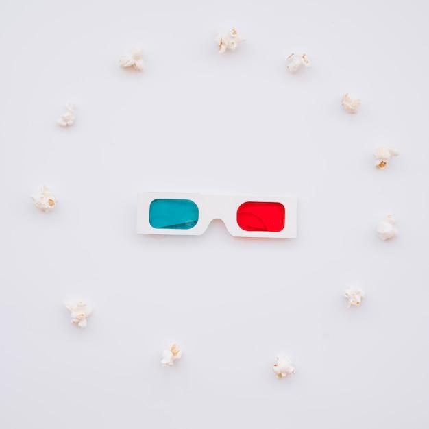 Bioscoop 3d bril met popcorns Gratis Foto