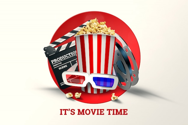 Bioscoop, bioscoopattributen, bioscopen, films, online weergave, popcorn en glazen. Premium Foto