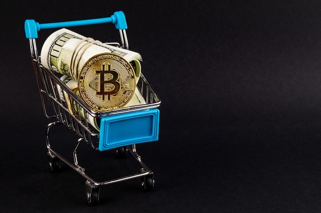 Bitcoin btc cryptocurrency betaalmiddelen in de financiële sector Premium Foto