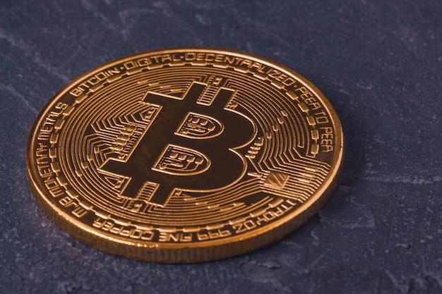 Bitcoin cryptocurrency close-up mijnbouw Premium Foto