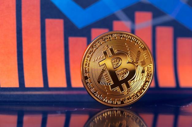 Bitcoin en grafiek Premium Foto