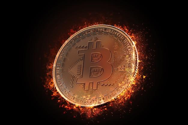 Bitcoin munt branden Premium Foto