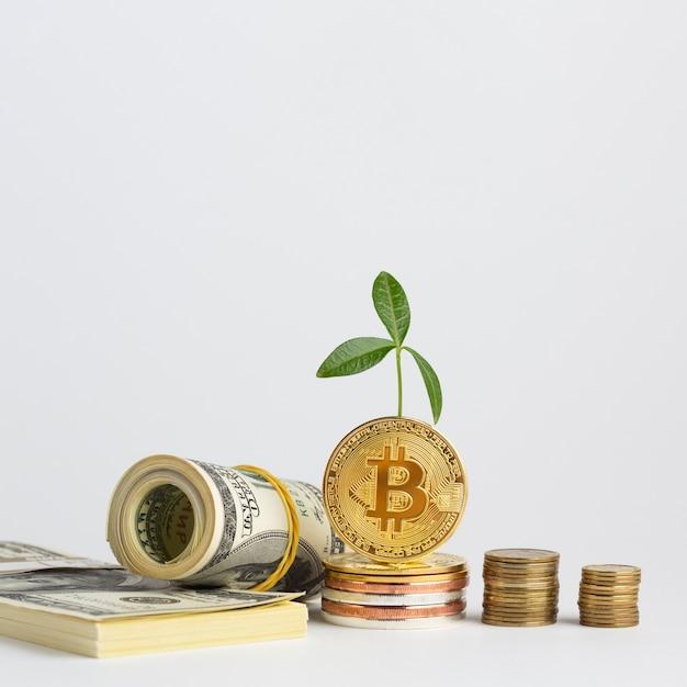 Bitcoin stapelt zich op in de buurt van stapels geld Gratis Foto