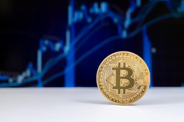 Bitcoin virtuele cryptocurrency op grafiek Premium Foto