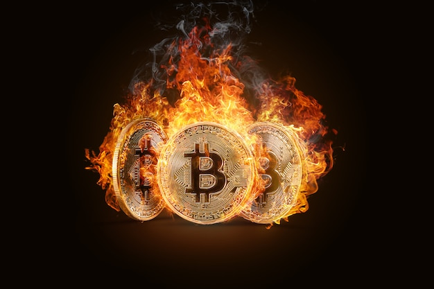 Bitcoins. elektronisch geld, crypto-valuta. Premium Foto