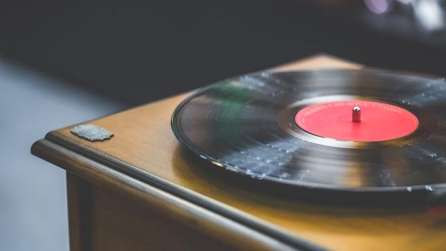 Black vinyl music record fonograaf Premium Foto