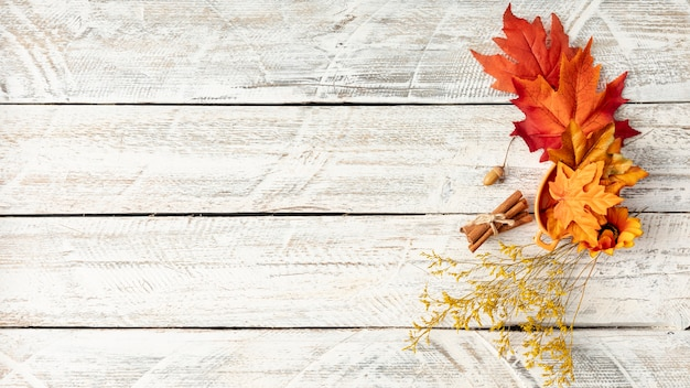 Bladerenregeling op witte houten achtergrond met exemplaarruimte Gratis Foto