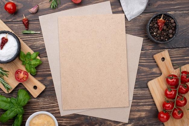 Blanco vel papier met ingrediënten koken Gratis Foto