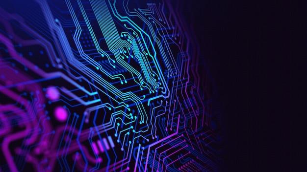Blauw en paars technologiecircuit Premium Foto