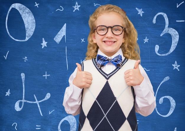 Blauw verdeel wiskunde hand getekende training Gratis Foto