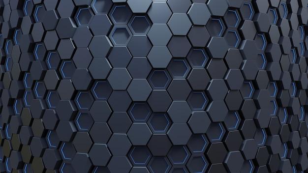 Blauw zeshoekig patroon Premium Foto