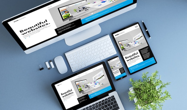 Blauwe apparaten bovenaanzicht creatieve website builder 3d-rendering. Premium Foto