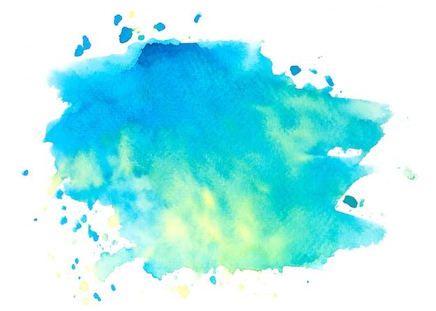 Blauwe aquarel vlek tinten penseelstreek achtergrond Premium Foto