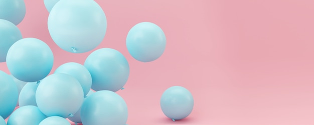 Blauwe ballonnen op pastel roze achtergrond. Premium Foto