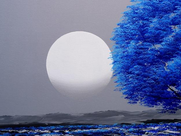 Blauwe boom met maan op lucht schilderij op canvas Premium Foto