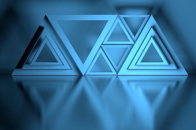 Blauwe compositie met veel driehoeksvormen Premium Foto
