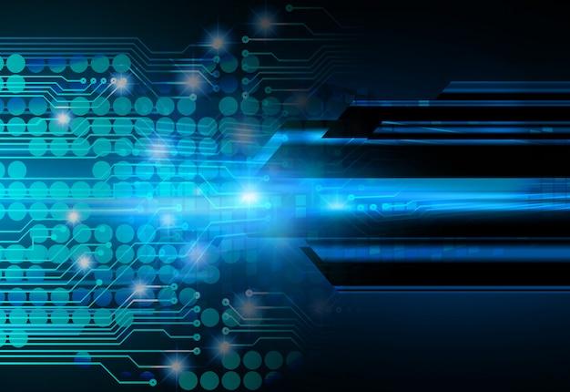 Blauwe cyber kring toekomstige technologie concept achtergrond Premium Foto