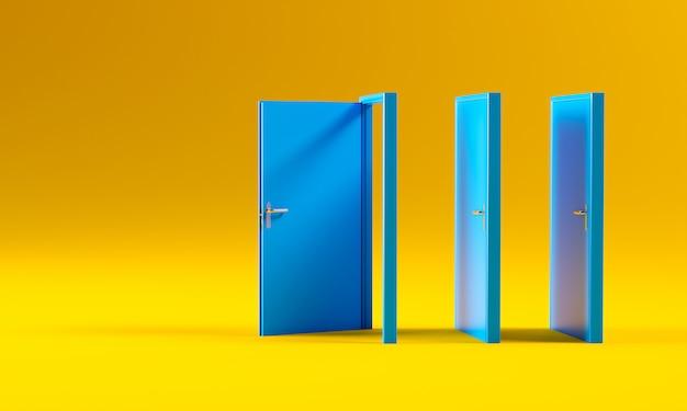 Blauwe deuren op geel Premium Foto