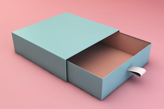 Blauwe doos op roze oppervlak Premium Foto