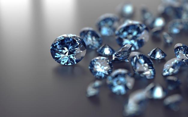 Blauwe edelstenen groep geplaatst op zwarte achtergrond Premium Foto