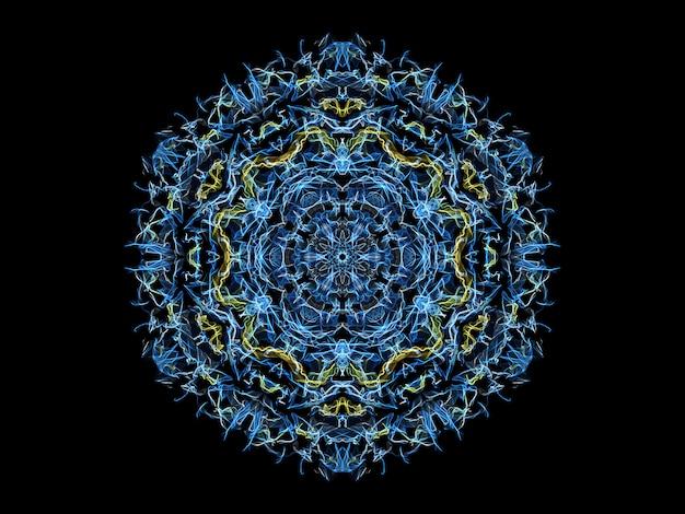 Blauwe en gele abstracte vlammandalasneeuwvlok, sier bloemen rond patroon Premium Foto