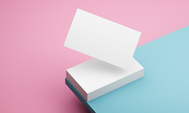 Blauwe en roze muurvisitekaartjes Premium Foto