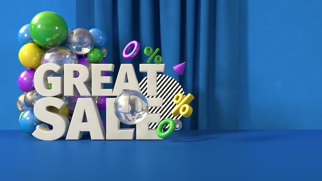 Blauwe grote verkoop sjabloon voor spandoek, 3d render Premium Foto