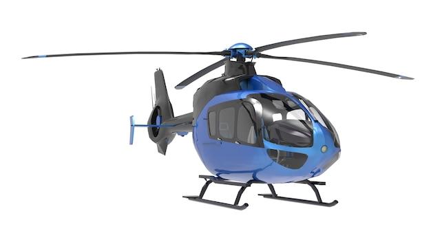 Blauwe helikopter die op het wit wordt geïsoleerd Premium Foto