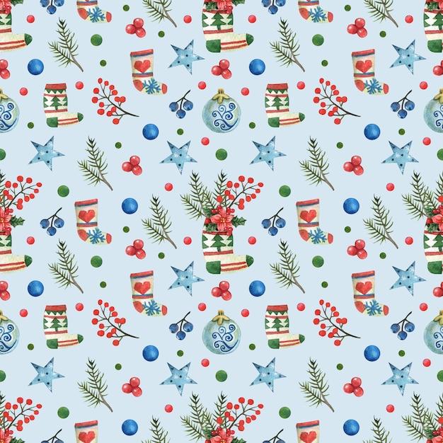 Blauwe kerst achtergrond met geschilderde kerst sokken Premium Foto