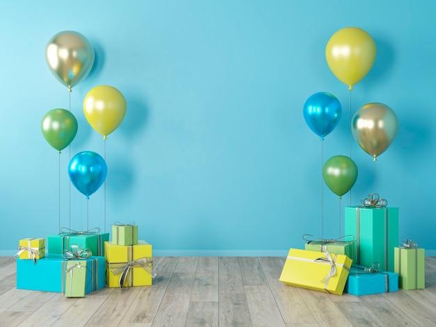 Blauwe lege muur, kleurrijk interieur met geschenken, cadeautjes, ballonnen voor feest, verjaardag, evenementen. 3d render illustratie, mockup. Premium Foto