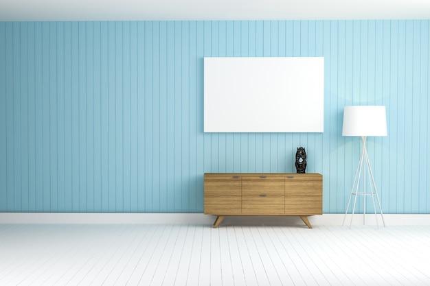 Blauwe muur met een bruine meubels Gratis Foto