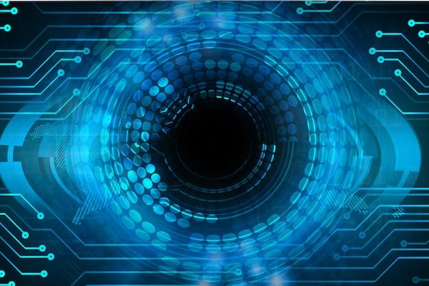 Blauwe oog cyber kring toekomstige technologie achtergrond Premium Foto