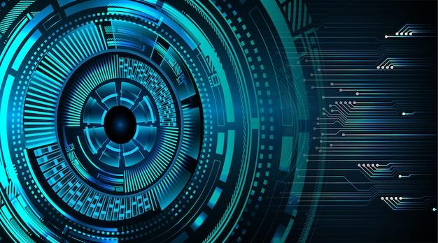 Blauwe oog cyber kring toekomstige technologie concept achtergrond Premium Foto