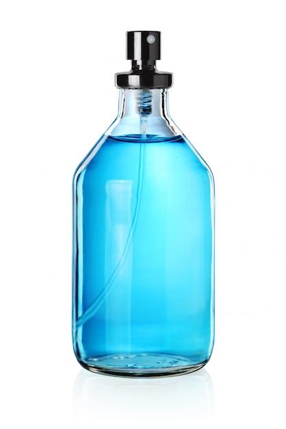 Blauwe parfumfles Premium Foto