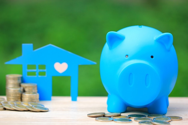 Blauwe piggy en stapel munten geld met blauwe huis model Premium Foto