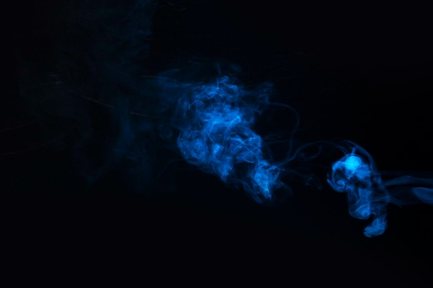Blauwe rook tegen zwarte achtergrond Gratis Foto