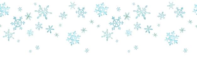Blauwe sneeuwvlokken frame achtergrond, aquarel winter grens met sneeuw. Premium Foto