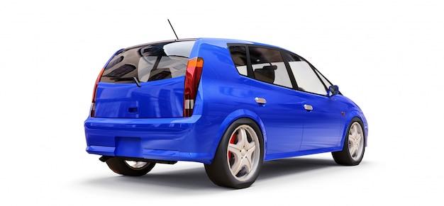 Blauwe stadsauto met lege oppervlakte voor uw creatief ontwerp Premium Foto