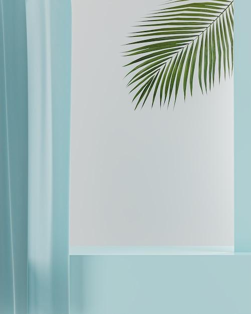 Blauwe tafelblad blauwe gordijn voor productplaatsing witte achtergrond 3d render Premium Foto