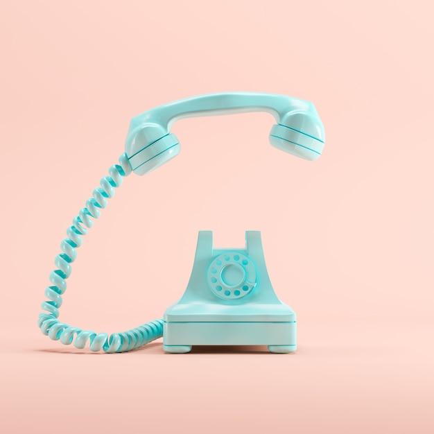 Blauwe uitstekende telefoon op roze pastelkleurachtergrond. minimaal idee concept. Premium Foto