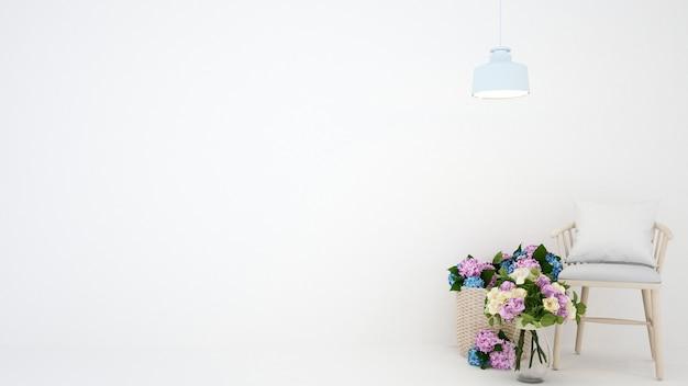 Bloem en stoel in witte ruimte Premium Foto