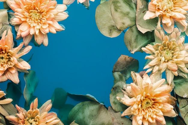 Bloemen met bladeren in blauw water met exemplaarruimte Gratis Foto