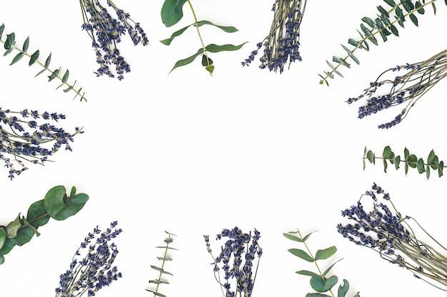 Bloemen samenstelling. frame gemaakt van lavendel en eucalyptustakken op witte achtergrond. valentijnsdag, moederdag, womens dag concept Premium Foto