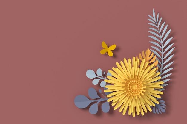 Bloemendocument stijl, papercraft bloemen, vlinderdocument vlieg, het 3d teruggeven Premium Foto